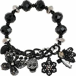 Betsey Johnson crystal skull flower bracelet